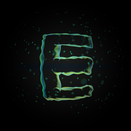 Microscopic letter E uppercase. 3D rendered nano font with tiny particles isolated on black background Banque d'images - 115614593
