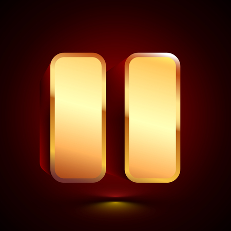 3D stylized Pause icon. Glossy golden vector icon. Isolated volumetric symbol illustration on dark background with shadow.