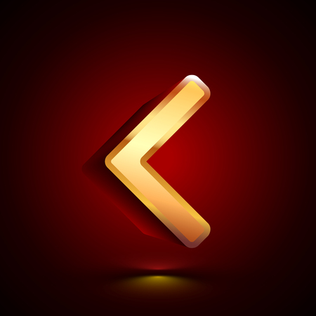 3D stylized Less Than icon. Glossy golden vector icon. Isolated volumetric symbol illustration on dark background with shadow.