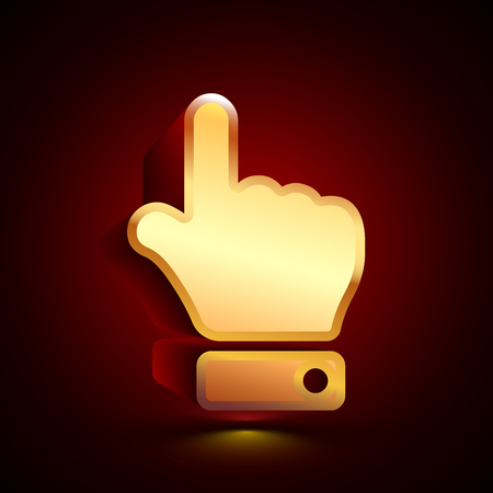 3D stylized Finger Up icon. Glossy golden vector icon. Isolated volumetric symbol illustration on dark background with shadow.