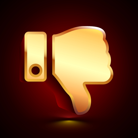 3D stylized Thumb Down icon. Glossy golden vector icon. Isolated volumetric symbol illustration on dark background with shadow. Illustration