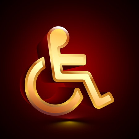 3D stylized Disabled Person icon. Glossy golden vector icon. Isolated volumetric symbol illustration on dark background with shadow.