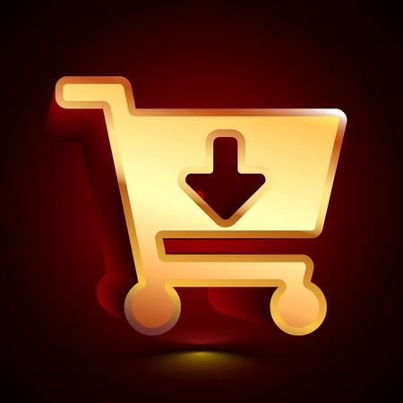 3D stylized Add to Cart icon. Glossy golden vector icon. Isolated volumetric symbol illustration on dark background with shadow. Vectores
