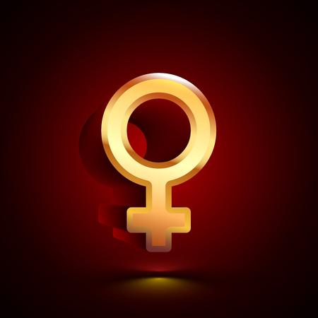 3D stylized Venus icon. Glossy golden vector icon. Isolated volumetric symbol illustration on dark background with shadow. Vektoros illusztráció