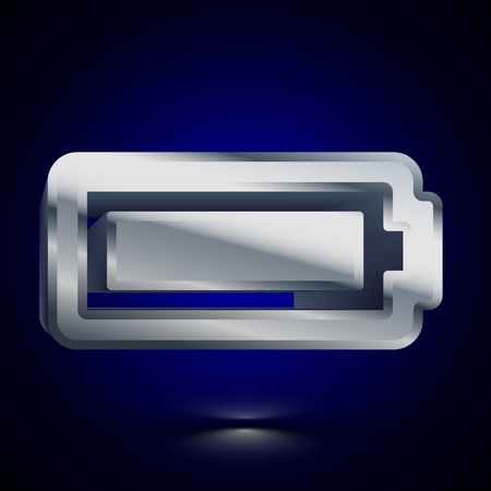 3D stylized Full Battery icon. Glossy silver vector icon. Isolated volumetric symbol illustration on dark background with shadow. Ilustração