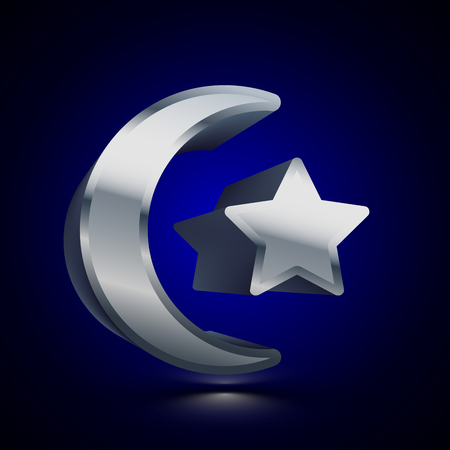 3D stylized Moon and Star Muslim icon. Glossy silver vector icon. Isolated volumetric symbol illustration on dark background with shadow.