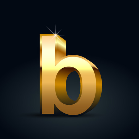 Vector gold letter B lowercase. Glossy golden font isolated on black background