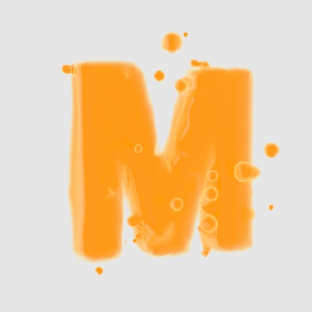 3d letter M uppercase. Orange Juice font with drops isolated on white background. 3D render.