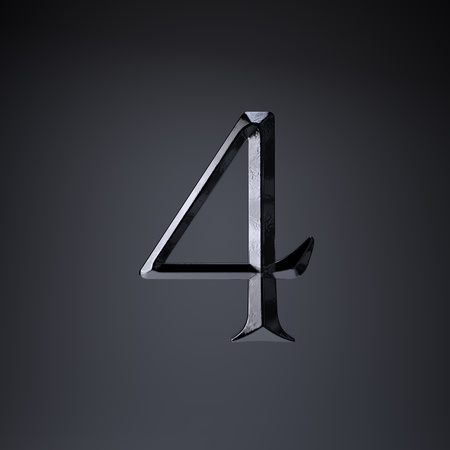 Chiseled iron number 4. 3d render cinematic title font isolated on black background.