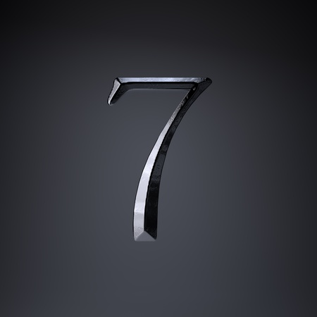 Chiseled iron number 7. 3d render cinematic title font isolated on black background. Stock Photo