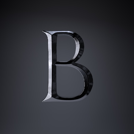 Chiseled iron letter B uppercase. 3d render cinematic title font isolated on black background. Stock Photo