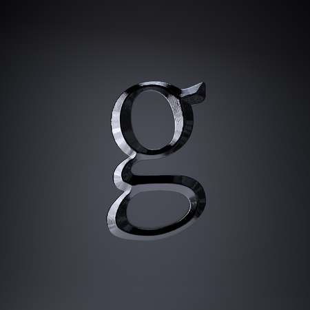Chiseled iron letter G lowercase. 3d render cinematic title font isolated on black background. Stock Photo