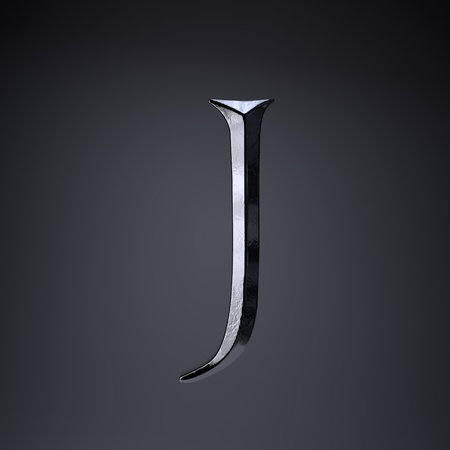 Chiseled iron letter J uppercase. 3d render cinematic title font isolated on black background. Stock Photo