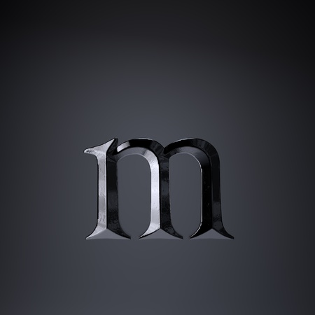 Chiseled iron letter M lowercase. 3d render cinematic title font isolated on black background. Stock Photo