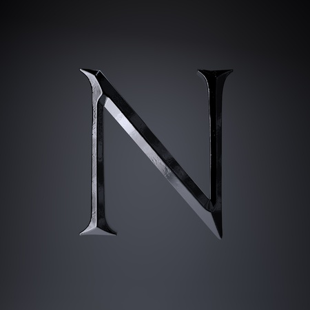 Chiseled iron letter N uppercase. 3d render cinematic title font isolated on black background.