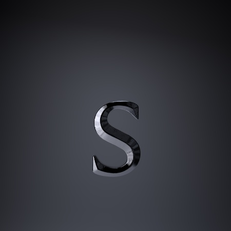 Chiseled iron letter S lowercase. 3d render cinematic title font isolated on black background.