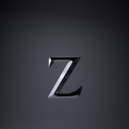 Chiseled iron letter Z lowercase. 3d render cinematic title font isolated on black background. Stock Photo