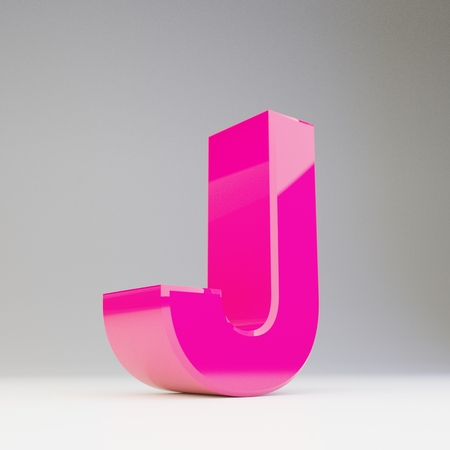 Giant 3D letter J uppercase. Rendered glossy pink font with light reflections isolated on white background.