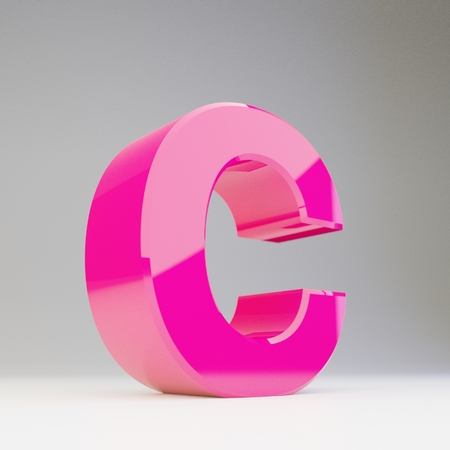 Giant 3D letter C uppercase. Rendered glossy pink font with light reflections isolated on white background.