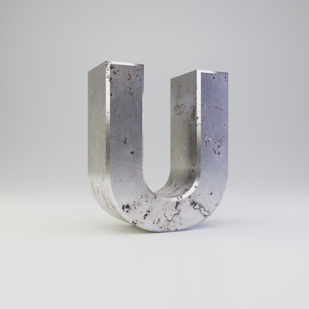 Metal letter U uppercase. 3D render scratched rusty metal font with shadow isolated on white background. Banco de Imagens