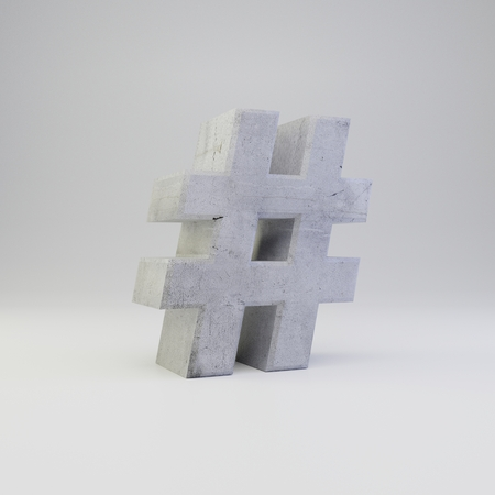 Concrete hashtag symbol. 3D rendered font with plaster texture isolated on white background