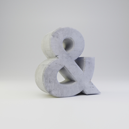 Concrete ampersand symbol. 3D rendered font with plaster texture isolated on white background