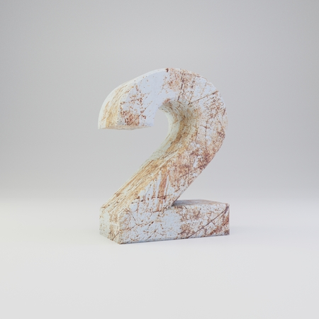 Concrete number 2. 3D rendered font with rusty metal scratches isolated on white background