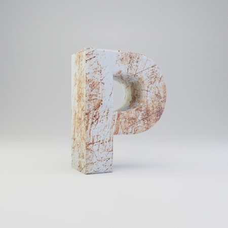 Concrete letter P uppercase. 3D rendered font with rusty metal scratches isolated on white background