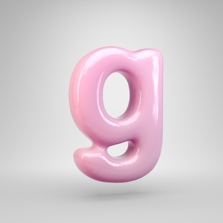 Bubble Gum pink letter G lowercase isolated on white background. 3D rendered alphabet. Modern font for advertising, poster, cover, lettering design template element. Stok Fotoğraf - 120247118