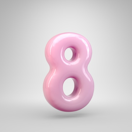 Bubble Gum pink number 8 isolated on white background. 3D rendered alphabet. Modern font for advertising, poster, cover, lettering design template element. Фото со стока