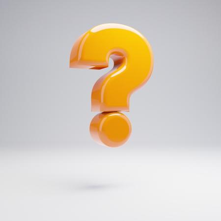 Volumetric glossy hot orange question mark symbol isolated on white background. 3D rendered alphabet. Modern font for banner, poster, cover, logo design template element.