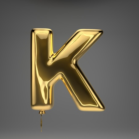 Golden glossy uppercase letter K isolated on dark background. 3D rendered alphabet. Inflated ballon font with golden ribbon.