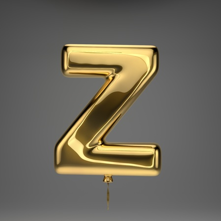 Golden glossy uppercase letter Z isolated on dark background. 3D rendered alphabet. Inflated ballon font with golden ribbon.