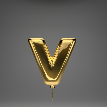 Golden glossy lowercase letter V isolated on dark background. 3D rendered alphabet. Inflated ballon font with golden ribbon.