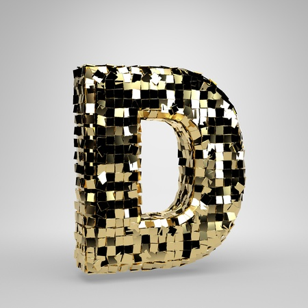 Disco ball uppercase letter D isolated on white background. 3D rendered alphabet. Modern font for dance party banner, poster, design template element. Stock Photo