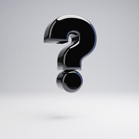 Volumetric glossy black question mark symbol isolated on white background. 3D rendered alphabet. Modern font for banner, poster, cover, logo design template element. Banco de Imagens