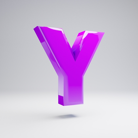 Volumetric glossy violet uppercase letter Y isolated on white background. 3D rendered alphabet.