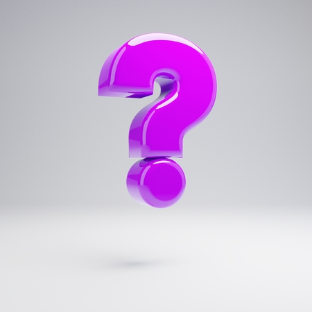 Volumetric glossy violet question mark symbol isolated on white background. 3D rendered alphabet.