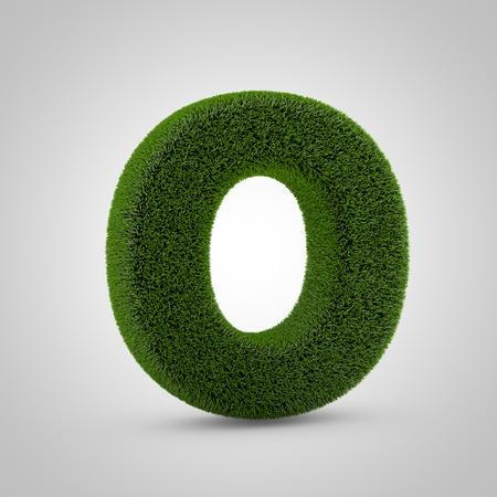 Volumetric green moss uppercase letter O isolated on white background. 3D rendered grass alphabet. Eco font for banner, poster, cover, logo design template element.