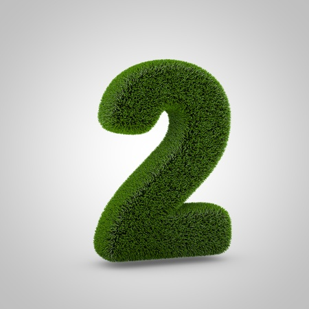 Volumetric green moss number 2 isolated on white background. 3D rendered grass alphabet. Eco font for banner, poster, cover, logo design template element.