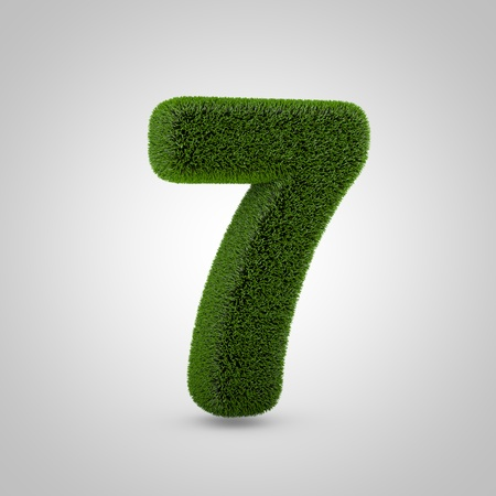 Volumetric green moss number 7 isolated on white background. 3D rendered grass alphabet. Eco font for banner, poster, cover, logo design template element.