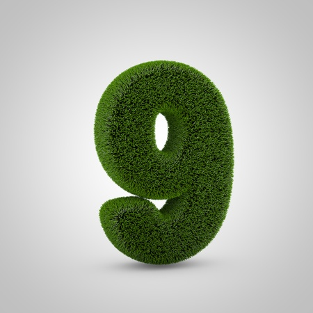Volumetric green moss number 9 isolated on white background. 3D rendered grass alphabet. Eco font for banner, poster, cover, logo design template element. Stockfoto