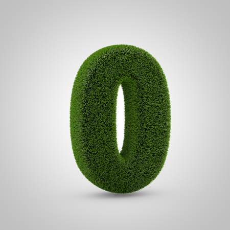 Volumetric green moss number 0 isolated on white background. 3D rendered grass alphabet. Eco font for banner, poster, cover, logo design template element.