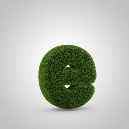 Volumetric green moss lowercase letter E isolated on white background. 3D rendered grass alphabet. Eco font for banner, poster, cover, logo design template element.