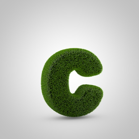 Volumetric green moss lowercase letter C isolated on white background. 3D rendered grass alphabet. Eco font for banner, poster, cover, logo design template element.