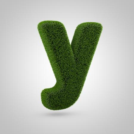Volumetric green moss lowercase letter Z isolated on white background. 3D rendered grass alphabet. Eco font for banner, poster, cover, logo design template element.