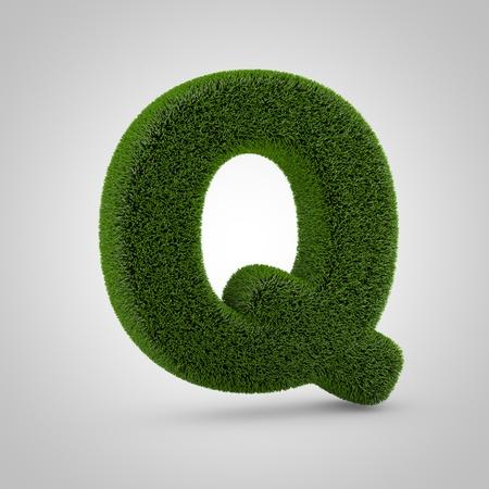 Volumetric green moss uppercase letter Q isolated on white background. 3D rendered grass alphabet. Eco font for banner, poster, cover, logo design template element.