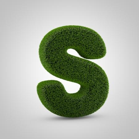 Volumetric green moss uppercase letter S isolated on white background. 3D rendered grass alphabet. Eco font for banner, poster, cover, logo design template element.