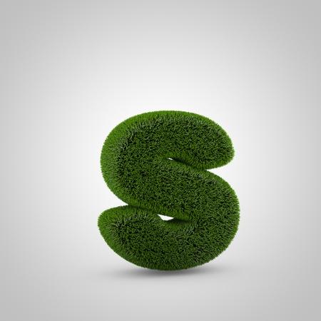 Volumetric green moss lowercase letter S isolated on white background. 3D rendered grass alphabet. Eco font for banner, poster, cover, logo design template element. Stockfoto