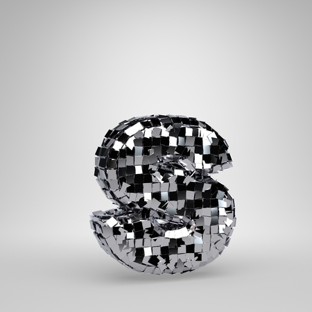 Chrome Disco Ball lowercase letter S isolated on white background. 3D rendered alphabet. Modern font for dance party banner, poster, design template element.